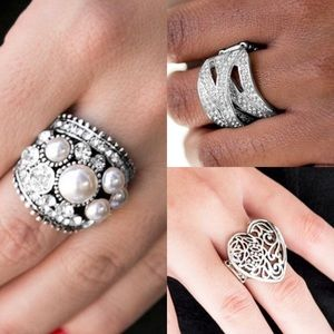 Jewelry - 3 Gorgeous Ring Set Lot Jewelry in Silver Setting
